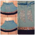Womens Aqua Blue Skirt Women's stitched beaded dress casual mini skirt size M