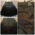 Womens Gray black  tie dye pin stripe Skirt Women's dress casual skirt size L