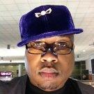 Navy Blue Denim Baseball Hat Old school Golf Hat Velour baseball Cap 71/4 FITTED