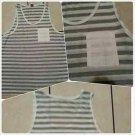 White Gray Pin Stripe tank top T- shirt Men's Casual Fashion Tank Top shirt  XL
