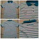 White Aqua pin stripe polo shirt short sleeve cotton short sleeve polo shirt  M