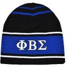 PHI BETA SIGMA BLUE BLACK WHITE SKULL CAP BEENIE CAP FRATERNITY BEENIE Beanie #1