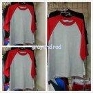 Heather Gray Red Long sleeve baseball T shirt  PRO CLUB BASEBALL TEE  S-2X