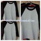 Heather Gray Black  Long sleeve baseball T shirt  PRO CLUB BASEBALL TEE  S-2X