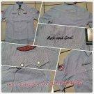 Mens blue white pin stripe short sleeve button up shirt Vintage style shirt  M-2