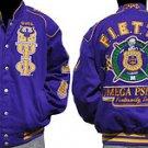 Omega Psi Phi Fraternity Puple Jacket Q Dog Purple Gold Race Jacket Coat 3X-5XL