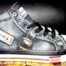 Mens Black high top denim sneaker shoe SZ 7.5-12 US NIB