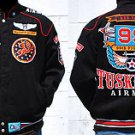Mens Black long sleeve Tuskegee Airmen jacket M-5X Redtails 99th Squadron Jacket