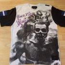 BLAC LABEL White Black short sleeve V neck T shirt Honor Lies Toil T shirt L NEW