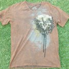 LAST HOLD BROWN SHORT SLEEVE V NECK T SHIRT MENS FASHION V NECK T SHIRT M