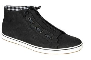 Mens black high top sneaker shoe high top leather sneaker shoe 6.5-12 Zip up
