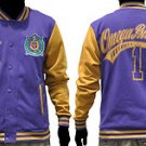 OMEGA PSI PHI Purple Gold fleece Jacket OMEGA PSI PHI PURPLE VARSITY JACKET XL-4