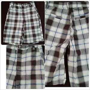 Mens white brown plaid shorts by Superfly plaid walking golf shorts W30-40W
