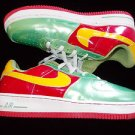 White Green Red low top sneaker shoe Nike Air Force One Tennis Shoe 10US