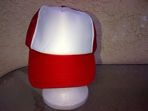 Red White Truck Hat Cap Cotton Mesh Snapback Trucker Hat Baseball Cap One SZ