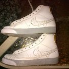 NIKE WHITE BLAZERS MINT CONDITION Youth Nike High Top Leather Sneaker Shoe 6US
