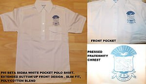 PHI BETA SIGMA WHITE SHORT SLEEVE POLO SHIRT White Phi Beta Sigma Polo shirt SML