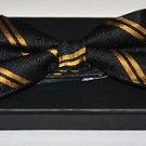 Alpha Phi Alpha Black Gold Bow Tie 100%  SILK PRE-TIED BOW TIE in Gift Box