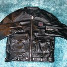 Mens black long sleeve black leather jacket Black Monogram leather jacket XL/60