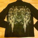 Black Cotton long sleeve jacket Black military inspired jacket Mens Jacket  M-2X