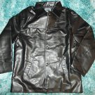 Mens Black long sleeve waist length jacket Black PU Leather jacket coat L-2X NWT