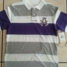 AKADEMIKS Purple White short sleeve polo shirt short Gray polo shirt XL NWT