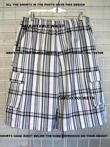 White plaid cargo shorts White Black stripe plaid cargo shorts S-XL