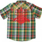 Mens green short sleeve plaid button up shirt Mens Plaid short sleeve shirt M-2X