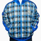 Mens Blue long sleeve track jacket by MECCA Blue Black Plaid Track Jacket NWT