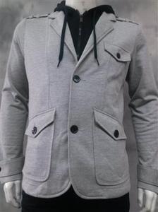 Gray Black Cotton Long Sleeve Blazer Jacket Mens Gray Sport Coat Hoodie  S-2X