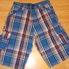 Mens blue gray plaid shorts by Godbody red blue gray plaid shorts W34,36 NWOT