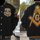 FREEMASON MASONIC MASON WOOL JACKET BLACK GOLD WOOL MASONIC JACKET L-4X