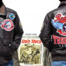 Mens Brown long sleeve Tuskegee Airmen leather jacket M-5X Redtails Leather Coat