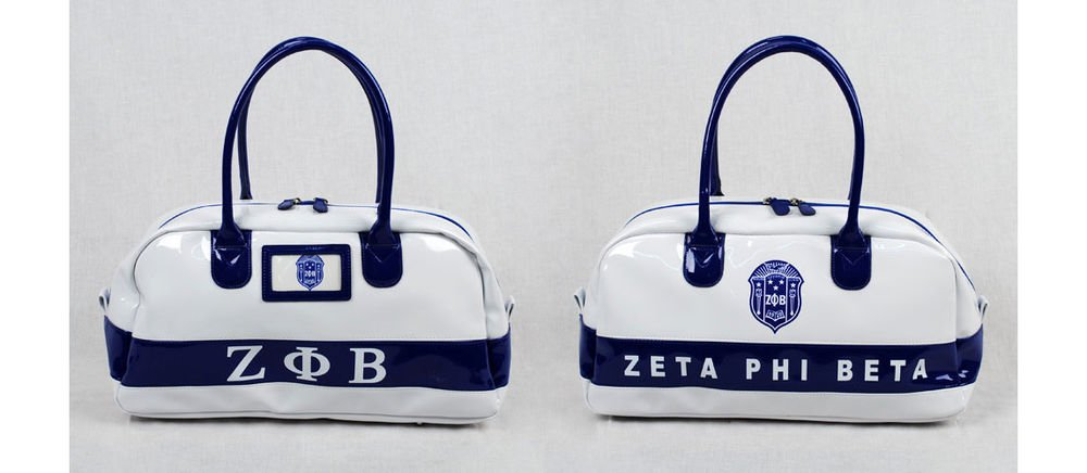 ZETA PHI BETA WHITE GYM BAG DUFFEL GYM BAG TOTE YOGA SPORTS SORORITY GYM BAG