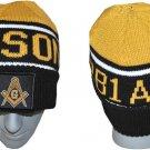 Masonic Mason Freemasonry Ski Cap Black Gold Masonic skull Cap Freemason #3