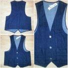 Mens Dark Blue Denim Jean Vest Denim Jean button up sleeveless Vest M-2X NWT