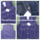 Metallic Black sleeveless denim vest Sleeveless Denim Jean Vest jacket XL-3X