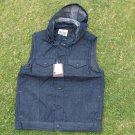 Blue Denim Jean sleeveless down vest hoody jacket Hoodie Hoody jean jacket M-2