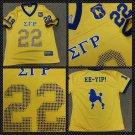 SIGMA GAMMA RHO short sleeve Football jersey Gold Blue Football Jersey S-4X