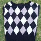 Black White Gray pullover sweater Womens argyle office casual dress sweater L/XL