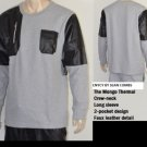ENYCE GRAY LONG SLEEVE THERMAL CREW NECK T-SHIRT MENS FASHION THERMAL TEE L-3XL
