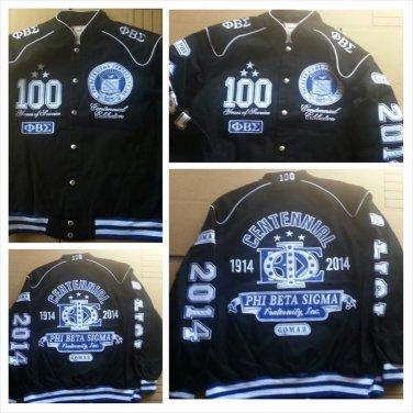 Phi Beta Sigma 100 YEAR Centennial Coat Black Phi Beta Sigma Race Jacket M-5X