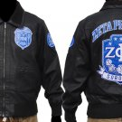 ZETA PHI BETA leather jacket Zeta Phi Beta Black long sleeve Leather Coat S-4X