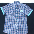 Purple Blue short sleeve plaid button up shirt Mens button up plaid shirt L