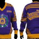 Omega Psi Phi Long Sleeve V neck Sweater Purple Gold Q-DOG V neck Sweater M-4X