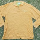 AZZURE Gold Lime Green Long Sleeve Rugby Polo Shirt Gold rugby shirt  2X