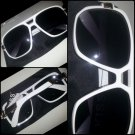 Mens Womens Unisex  80's Gazelle style glasses white square LENS SUN GLASSES #2