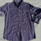 Mens Purple long sleeve button up dress casual shirt Roll up sleeves shirt L NWT
