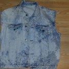 Sleeveless denim jean vest Bleach Wash Disstressed Denim jean Vest Jacket M-2X