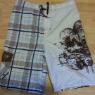 Boys Brown White blue board casual shorts OP plaid swim trunks shorts 14/16